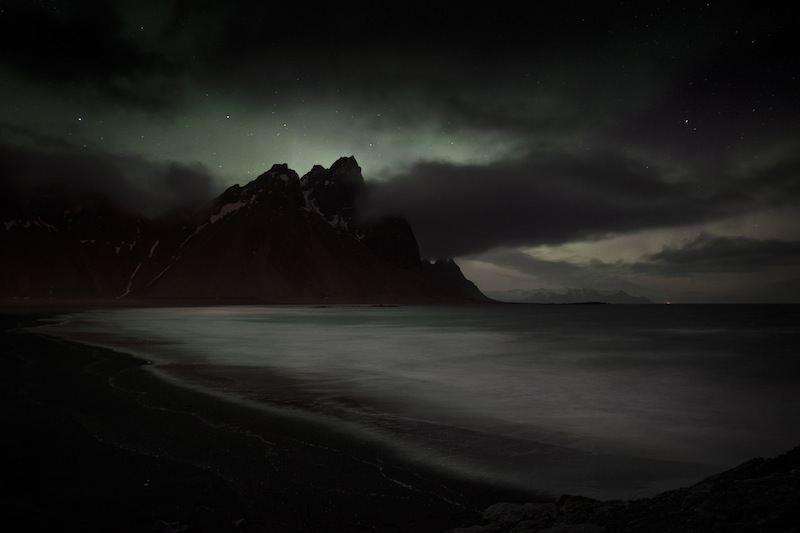 winner | landscapesKerstin Langenberger - Light in the dark Faint nothern lights over Vestrahorn, Iceland